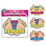 3 stickers décoratifs Vive la Retraite