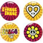 4 badges hippie