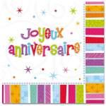 16 serviettes joyeux anniversaire