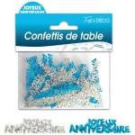 Confettis de table Joyeux anniversaire bleu & argent