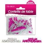 Confettis de table Joyeux anniversaire rose & argent
