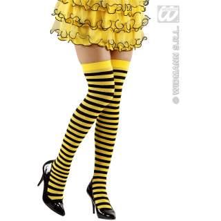 Bas abeilles rayés jaune et noir