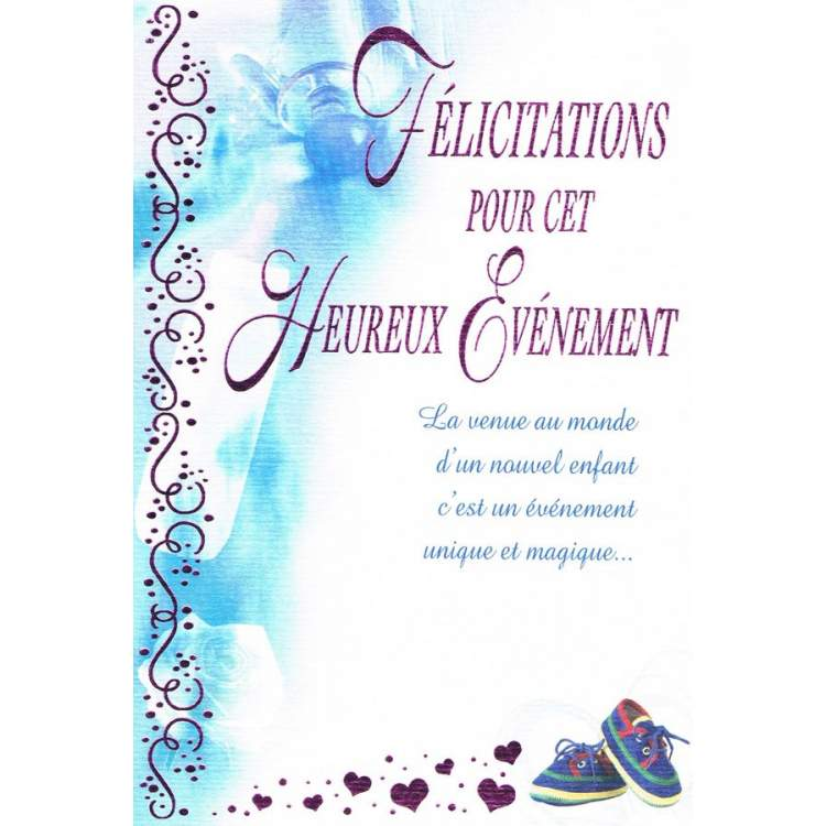 Préférence Carte félicitations pour cet heureux événement - Méga Fête OC99